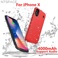 4000mAh Portable Soft Silicone Battery Charger Cases For iPhone X Battery Case Magnetic Power Bank Charging Case Support Audio