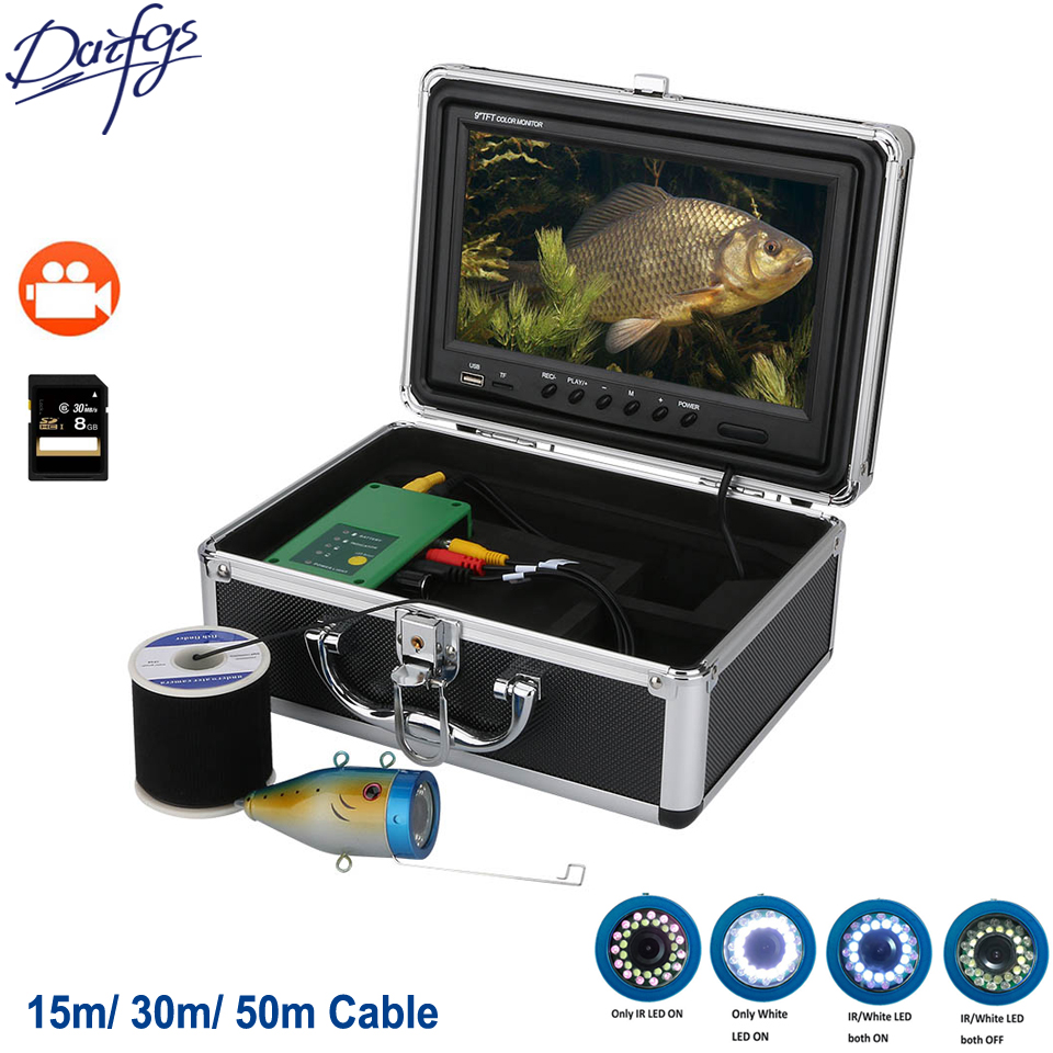 9 Inch DVR Recorder 1000TVL Underwater Fishing Camera 15M 30M 50M 30pcs LEDs For Ice/Sea/River Fish Finder For Fishing Camera EYOYO