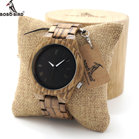 BOBO BIRD M30 Mens Watch Zebra Wood Quartz Watch With Luminous Hands Full Wood Band In