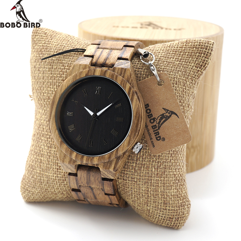 BOBO BIRD Mens Watch Zebra Wood Quartz Watch with Luminous Hands Full Wood Band in Gift Box custom logo saat erkek relojes