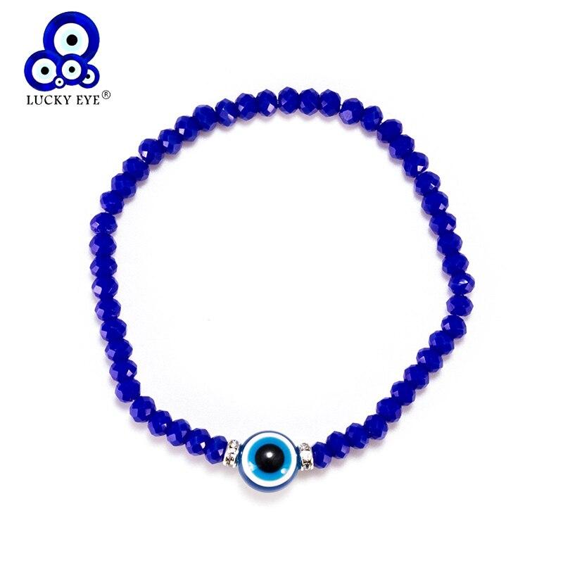 Mooi Lucky Eye Crystal Kralen Armband Blue Evil Eye Armband Voor Vrouwen Mannen Armband Mode-sieraden Verstelbare Ey5332