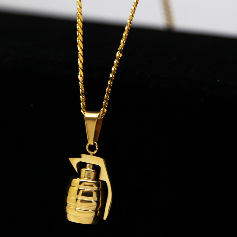 Gold color plated grenade bombs pendant high quality fashion hiphop gold color plated grenade bombs pendant high quality fashion hiphop 60cm statement necklaces cuban chain men jewelry in pendant necklaces from jewelry mozeypictures Images