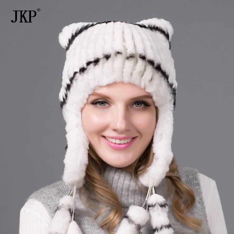 Téli női kalapok Rex nyúl prémes kalap fülvédő sapkák szőrme - Ruházati kiegészítők