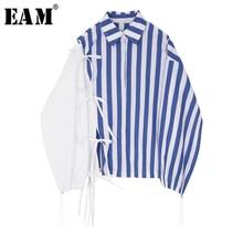 купить [EAM] 2019 New Autumn Winter Lapel Long Sleeve Blue Striped Split Joint Bandage Large Size Shirt Women Blouse Fashion Tide JI759 дешево