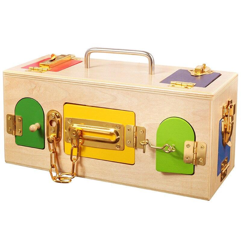 Montessori boîte de verrouillage en bois éducation de la petite enfance éducation préscolaire bébé débloquer boîte maternelle outils d'enseignement intelligents - 2