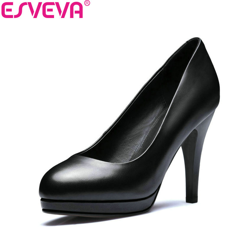 ESVEVA 2018 Women Pumps Sexy Thin High Heel Party PU+Cow Leather Office Ladies Shoes Slip on Size 7/8.5cm 34-42 9.2/11.2cm 34-39 sexy women semi transparent lace high heels new 2017 ladies sequin shoes slip on thin heel pumps free shipping