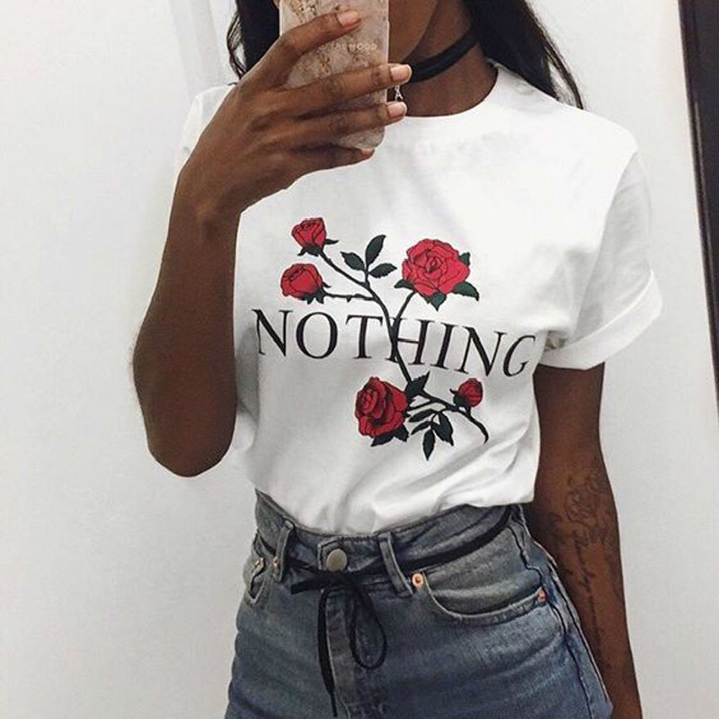 Harajuku Women S Fashion O Neck Short Sleeve Rose Letter Print Nothing Printed T Shirt Floral