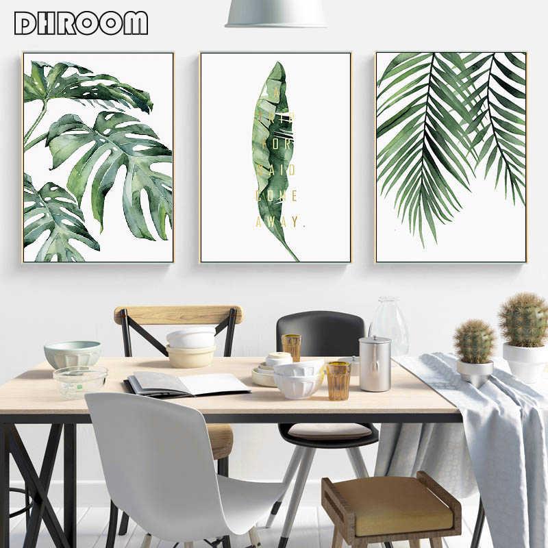 Cat Air Daun Dinding Seni Lukisan Kanvas Gaya Hijau Tanaman Nordic Poster dan Cetakan Dekoratif Gambar Modern Dekorasi Rumah