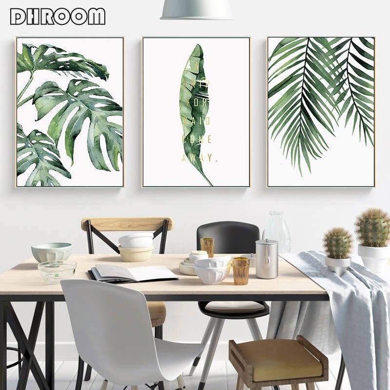 Suluboya yaprakları duvar sanatı tuval yağlıboya yeşil tarzı bitki İskandinav posterler ve baskılar dekoratif resim modern ev dekorasyonu