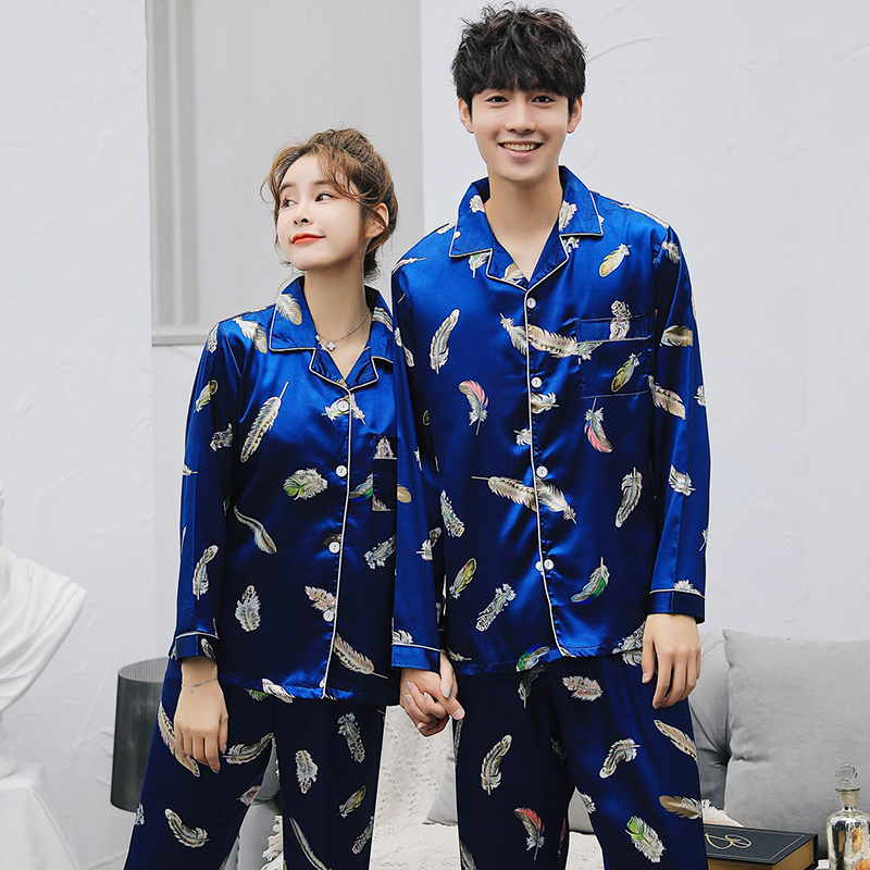 2019 Spring Autumn Couples Silk Satin   Pajamas     Sets   for Women Long Sleeve Sleepwear Pyjamas Lounge Homewear Pijama Mujer Clothing
