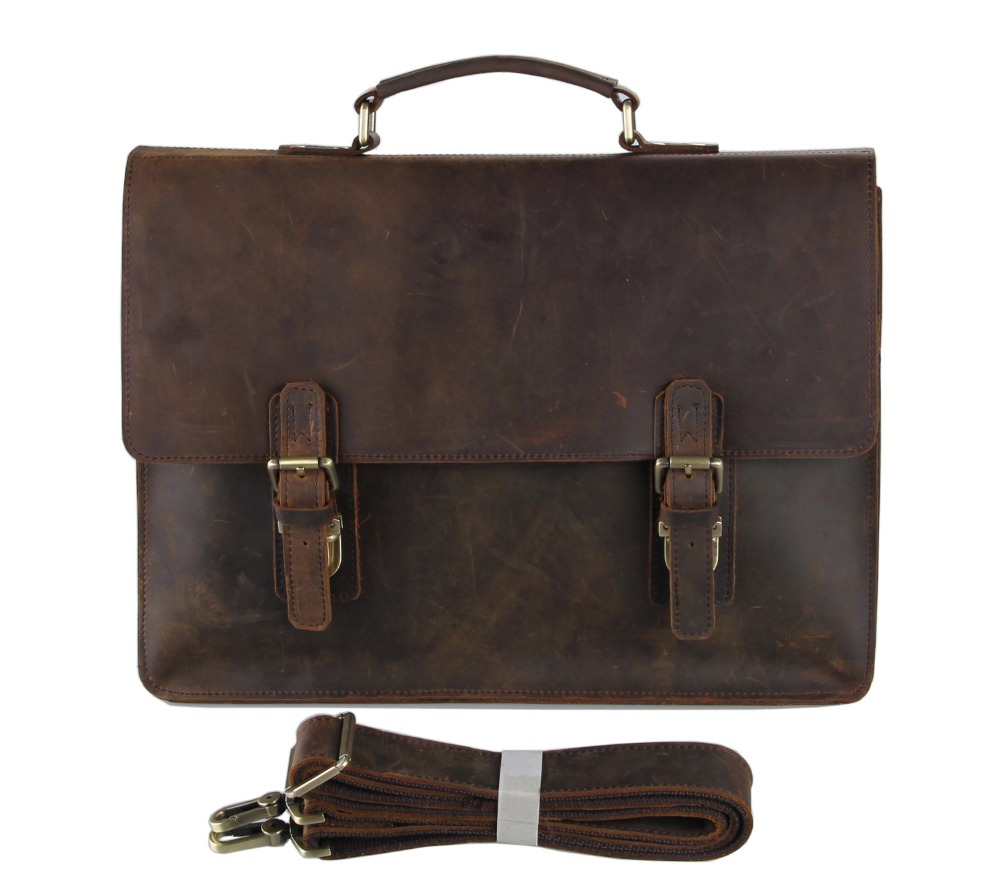 JMD Cowboy Crazy Horse En Cuir Hommes Porte-Documents Sac D'ordinateur Portable Sac À Main Messenger Sac 7223R-1
