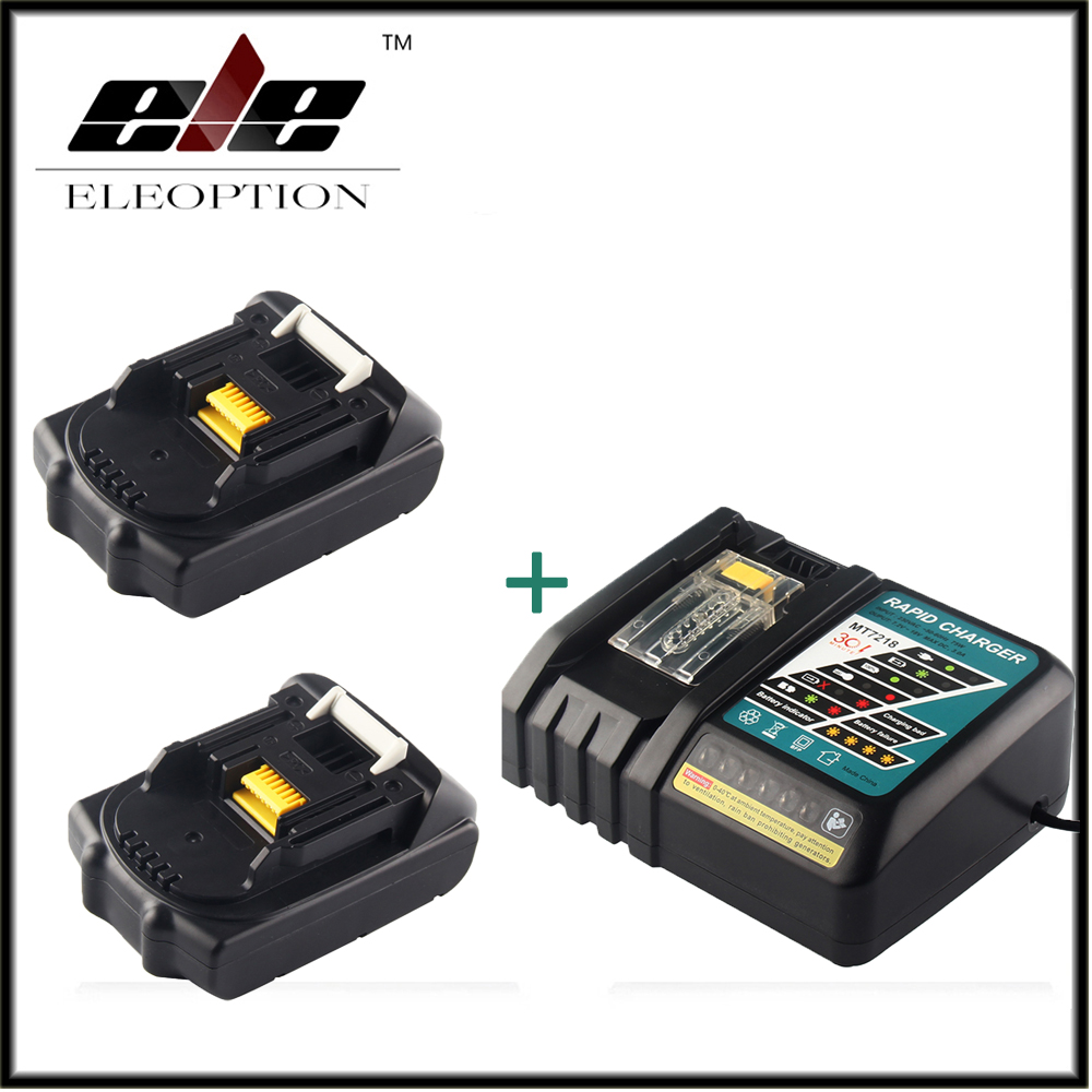 Eleoption 18V 2000mAh Li-ion 2 pcs Replacement Power Tool Battery For MAKITA 194205-3 194309-1 BL1815 + 7.2V-18V Charger
