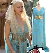 YUFEIDA Game of Thrones Daenerys Targaryen Costume Cosplay Dress Fantasia Dragon Wig Halloween Costumes for Women Cosplay Dress