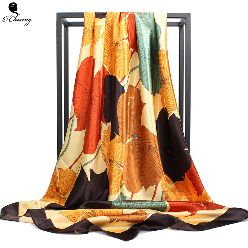 O CHUANG Silk   Scarf   Spring Summer Printed brand foulard soie Women Bag Shawl Square Head   Scarves     Wraps   Hijab 90x90cm