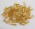 Стеклянные Стеклярус, Бисер, золотарник, серебро Покрытием, около 1.8 мм в диаметре, 6 мм длиной, отверстие: 0.6 мм