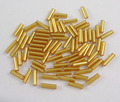 Glass Bugle Beads,  Seed Beads,  Goldenrod,  Silver-Lined,  about 1.8mm in diameter,  6mm long,  hole: 0.6mm