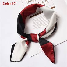 2018 New Style Professional Red And White Patchwork Silk Feel Satin Small Vintage Square Scarf Hair Tie Band Women Xmas Gifts(China)