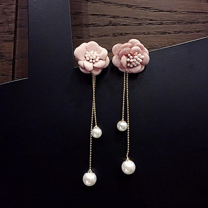 FYUAN Fashion Lady Long Tassel Earrings Bohemia Cloth Pink Flower Pearl Drop Dangle Earrings for Women Wedding Party Jewelry