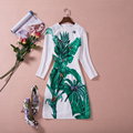 2016 Autumn Runway Designer Dress Women's High Quality 3/4 Sleeve Green Printed Beading Plus Size Dress