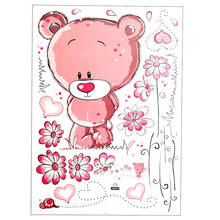 HOT GCZW-Cute Lovely Pink Bear Nursery Girl Baby Kids Children Art Decal Wall Sticker Bedroom wall stickers home decor(China)
