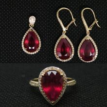 Elegant Natural Diamond Jewelry Suit Red Ruby Earrings Pendant Ring In 14K Yellow Gold For Wholesale