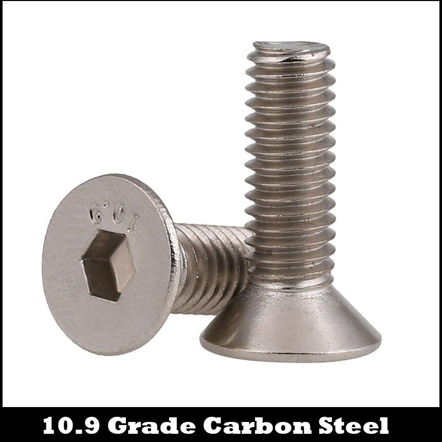 M1.6 M1.6*3/4/5/6 M1.6x3/4/5/6 10.9 Grade Nickel Plated Carbon Steel DIN7991 Flat Countersunk Head Hex Hexagon Socket Mini Screw 20pcs m3 6 m3 x 6mm aluminum anodized hex socket button head screw