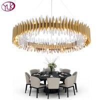Youlaike New Design Crystal Lamp Chandelier Modern Ring Gold LED Chandeliers Lighting Fixture Living Room Gold Cristal Lustre