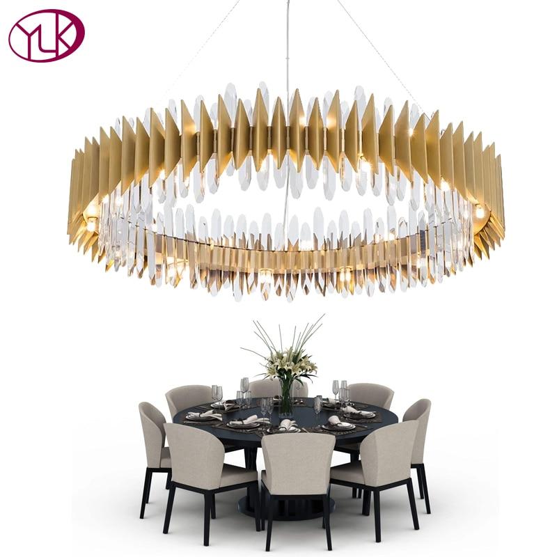Youlaike nouveau Design Cristal lampe Lustre moderne anneau or LED lustres luminaire salon or Cristal Lustre