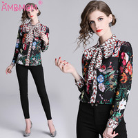 2019 Spring Women Shirt Fashion Blouses Vintage Floral Printed Blouse Pink Chiffon Bow Shirt Women Fashion Design Female Tops