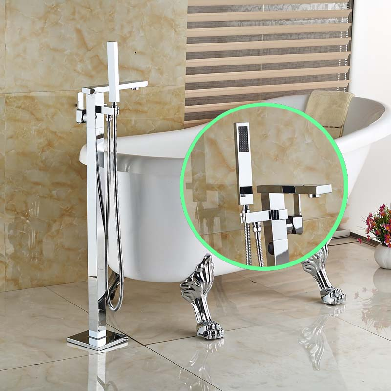 Chrome Single Handle with Switch Free Standing Bath Tub Mixer Faucet Brass with Handheld Shower Tub Mixer Taps