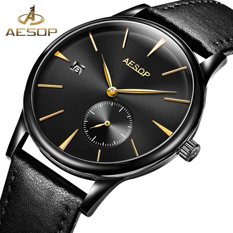 AESOP Simple Watch Men Automatic Mechanical Thin Leather Band Minimalist Wrist Wristwatch Male Clock Relogio Masculino Brand 27 fashion fngeen brand simple gridding texture dial automatic mechanical men business wrist watch calender display clock 6608g