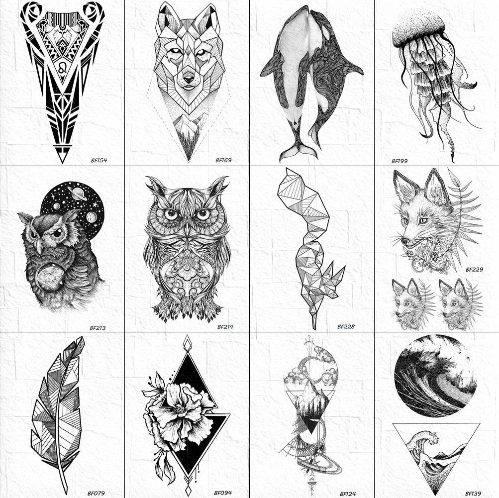 VANKIRS Body Arm Art Tattoos Temporary Women Owl Black Henna Tatoo Sticker Fake Geometric Fox Water Transfer Tattoo Paper Decals
