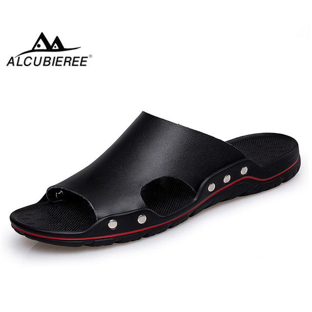 ALCUBIEREE Brand Slippers Men Summer Flat Sandals Casual Beach Flip Flops Shoes Non-slip Indoor House Home Slippers Big Size 48