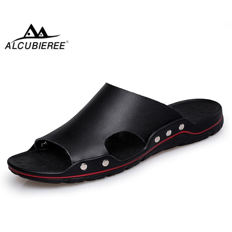 ALCUBIEREE marque pantoufles hommes été plat sandales décontracté plage tongs chaussures antidérapant intérieur maison pantoufles grande taille 48