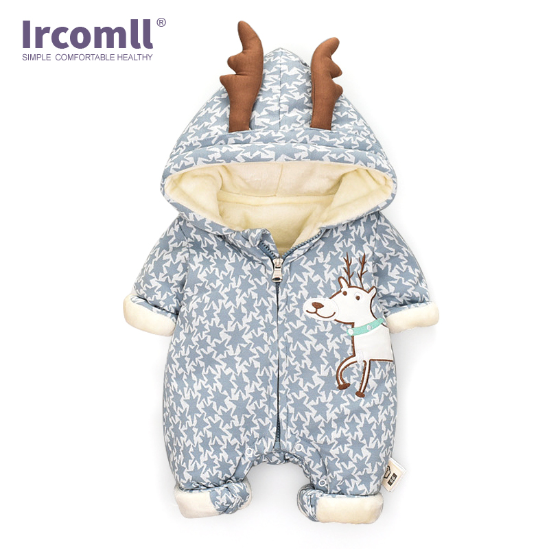 Ircomll Newborn Girls Boys Warm Infant Romper Baby Christmas Deer Clothing Infant Kids Jumpsuit Hooded Toddlers Clothes Winter O цена