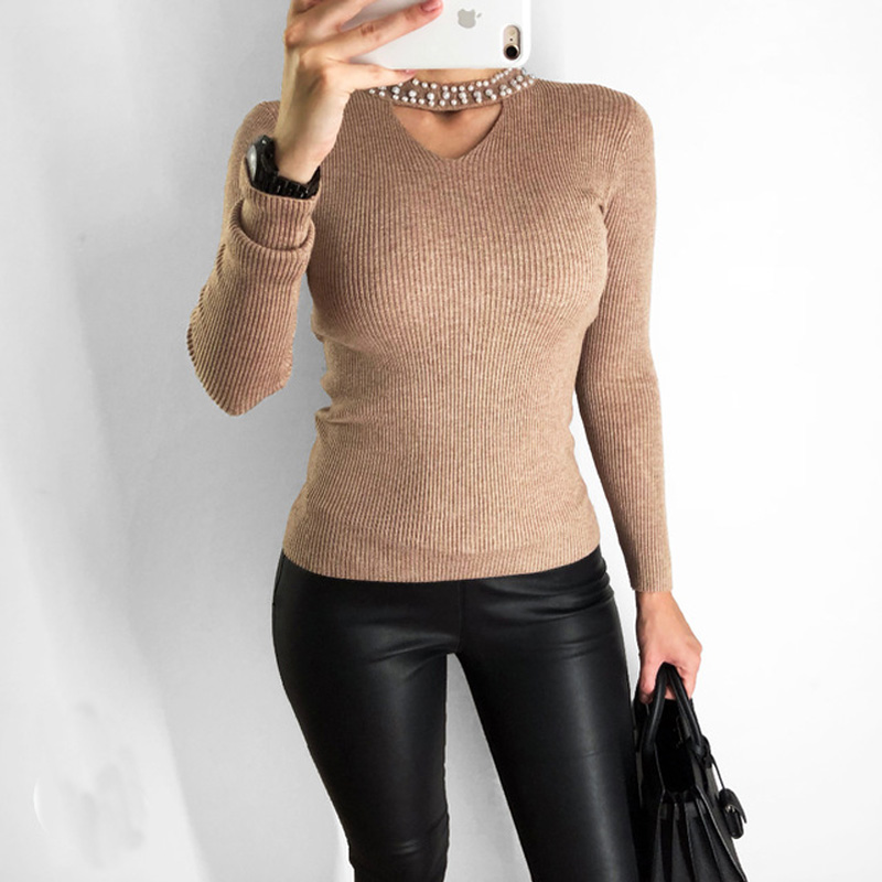 2018 Autumn Slim Pearls Pink Sweater Women Halter Knit Pullover Sweater Sexy Winter Tops Slim V Neck Long Sleeve Jumper