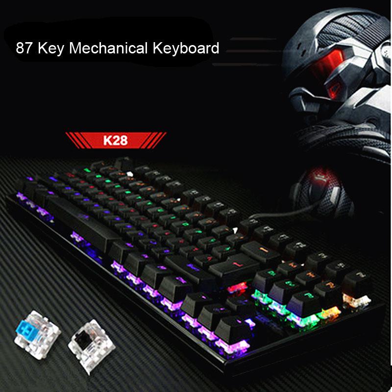 EASYA Mechanical Keyboard 87 Keys Backlit Gaming Colorful LED USB Wired Game Keyboard Full Size Blue Switch for Computer Use