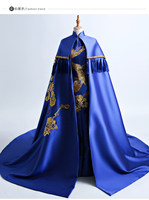 100%real masquerade royal blue/red peacock embroidery pattern traditional cosplay court drama long dress stage/stuido Gown queen