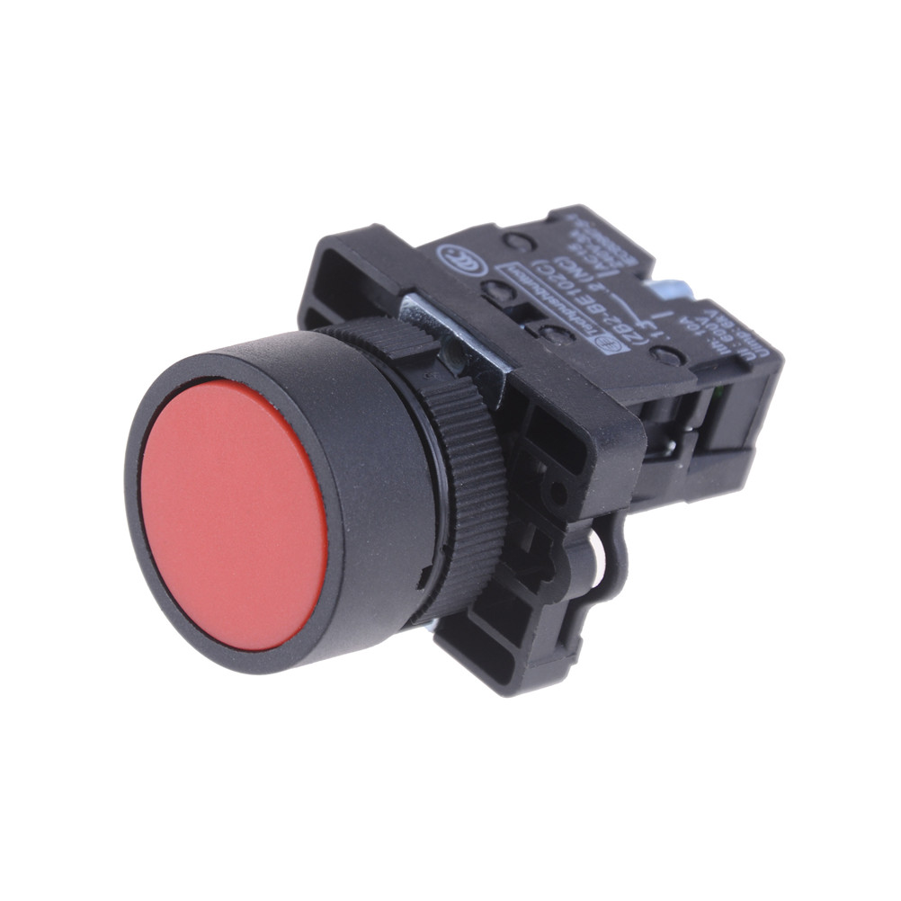 New 1pcs 22mm 1 NC N/C Red Sign Momentary Push Button Switches XB2 Flat Touch Switch Button