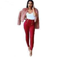 Winter Women Suede Pencil Pants High Waist Push Up Slim Stretch With Button Skinny Long Pant
