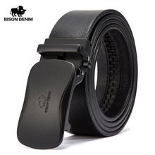 BISON DENIM Luxury Leather Belt Men Automatic Buckle Genuine Strap Brand Waistband Cowhide Belts For N71345