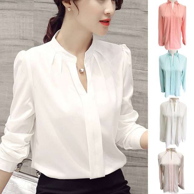 6d0514f70bd0c LNRRABC moda Primavera otoño mujeres blusa manga larga suelta cuello en V  chica Casual chifón blusa
