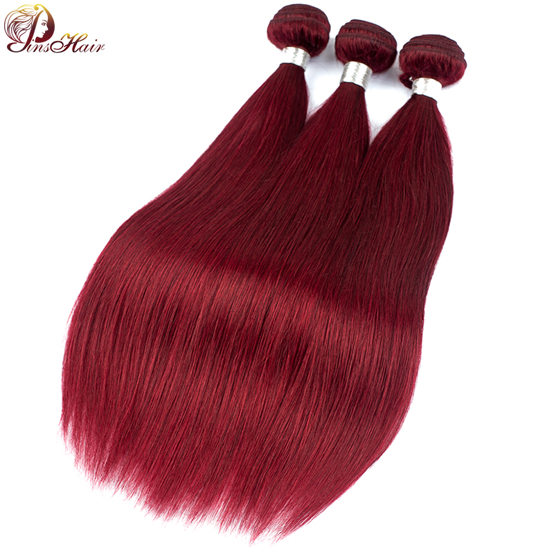 99J Burgundy Human Hair Bundles Red Colored Peruvian Hair 1/3 Bundles Pinshair Non Remy Hair Weave Extensions No Shedd No Tangle