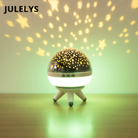 JULELYS USB Battery LED Table Lamp Moon Star Projector Night Light Baby Kids Bedroom Bedside Desk Lamp Nightlight Creative Gift