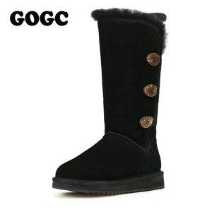 Image 5 - GOGC 2018 נשים חורף מגפי שלג מגפיים חם נשים של חורף מגפי עם צמר פרווה נוח עור אמיתי נעלי נשים 9722