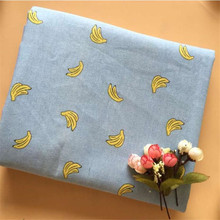 Woven Linen Cotton Fabric Telas Sewing Patchwork Fabric Banana Printed Cotton Linen Cloth Home Textile Material For DIY Quilting hedgehog printed patchwork cotton linen fabric diy sewing linen cotton fabric quiting woven home textile material handmade craft