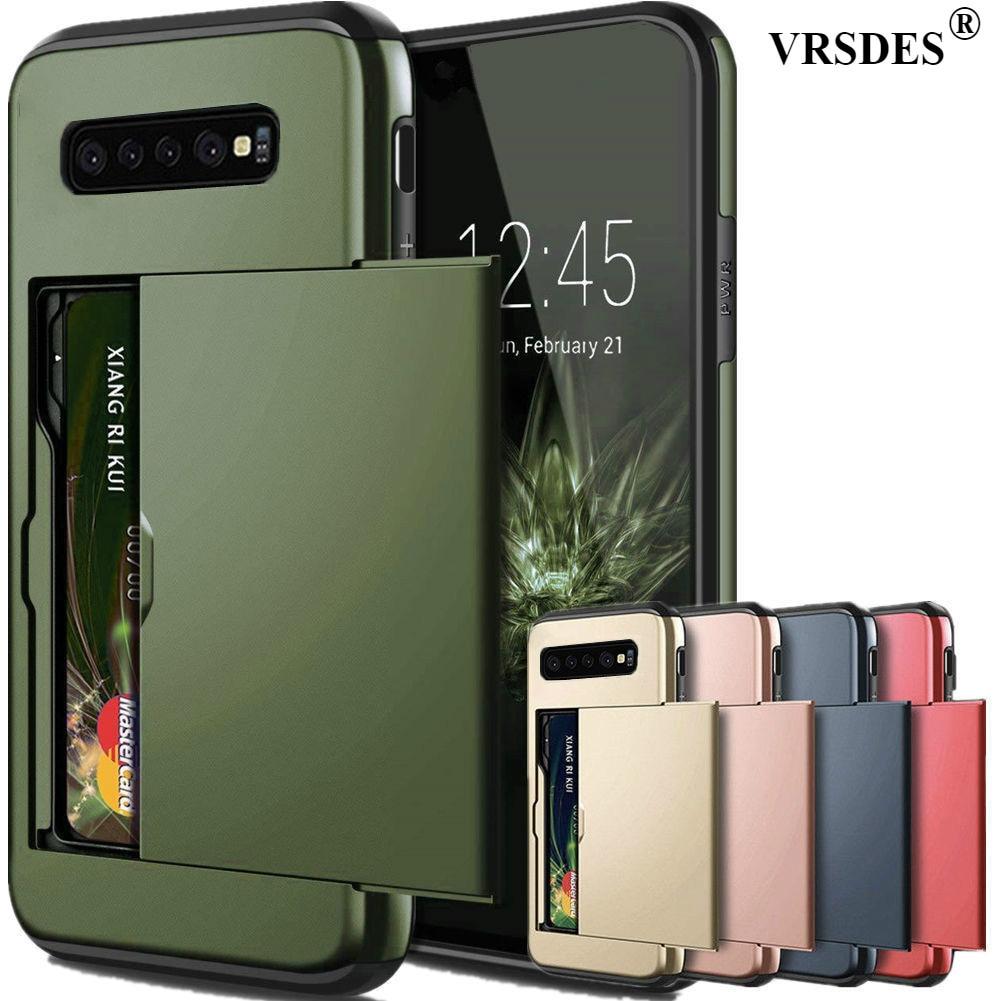 For Samsung Galaxy S10 Plus S9 S8 S7 S6 Edge S5 S10E S10 5G Case Slide Armor Wallet Card Slots Holder Cover For Samsung Note 9 8 アイ フェイス アイフォン 10