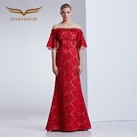 Coniefox 31589 red Designer Extreme Luxury Prom Long Dress Celebrity Retro Elegant evening Dresses gown Wedding Dresses 2016 new