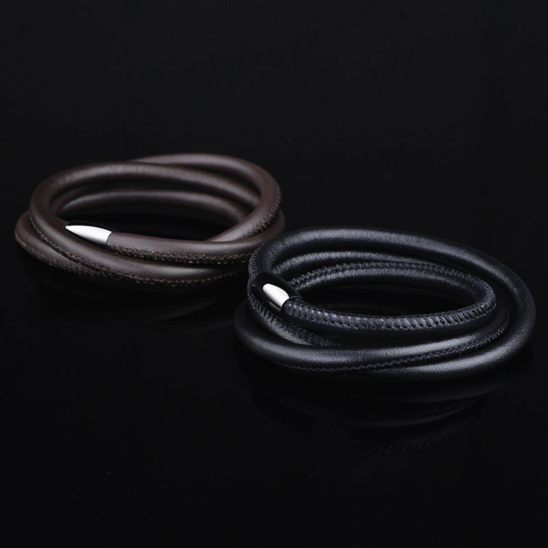 2017 New Arrival Multi-layer 100% Genuine Leather Bracelets for Man with Buckle Stainlees Steel Black/ Brown Color Pulseiras Mas