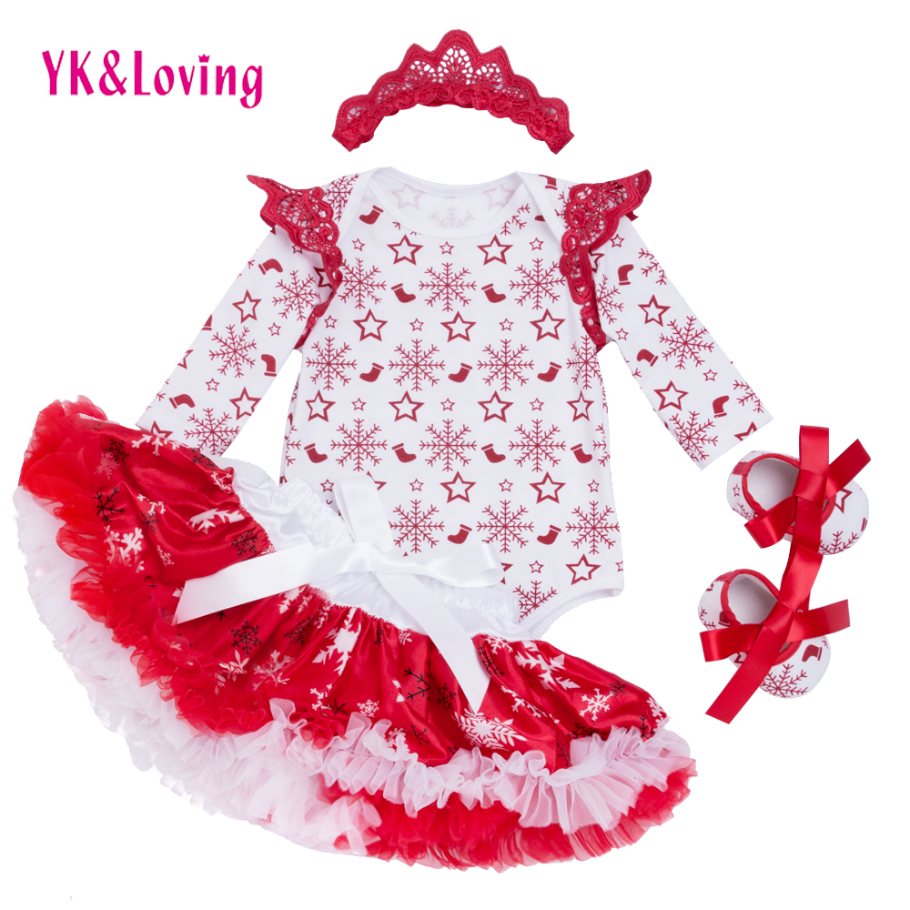2017 New Christmas Baby Clothing Set Girl Cotton Snowflake Rompers+Ruffle Tutu Skirt+Headband 4pcs Newborn Clothes YK&Loving new born baby girl clothes leopard 3pcs suit rompers tutu skirt dress headband hat fashion kids infant clothing sets